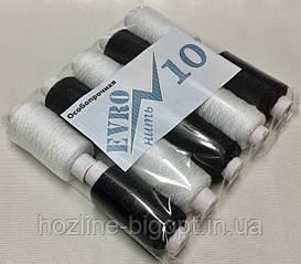 Швейна нитка ПОВНИЙ НАМОТ, товщина № 10 х/б чорний, білий