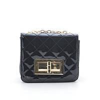 Модный изящный лаковый  клатч в стиле Шанель , черный