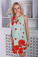Молодежное летнее платье без рукавов\узор маки, фото 1