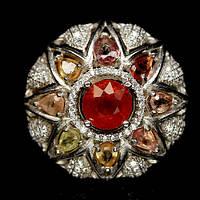 """Серебряное кольцо 925 пробы с натуральным гранатом спессартином и разноцветным сапфиром """"Роксолана"""". Размер 17"""