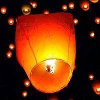 Небесные фонарики  в виде купола ,1 метр ,разных цветов оранжевый