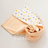 Конверт-плед на выписку для новорожденных, желтые горохи, фото 1