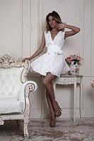 """Красивое короткое шифоновое платье без рукавов с поясом """"бант"""""""