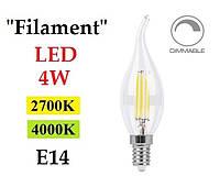 """Светодиодная лампа диммируемая """"Filament"""" Feron LB-69 4W E14 свеча на ветру"""