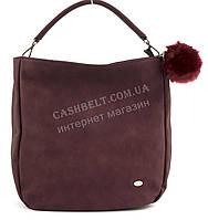 Стильная наплечнаяоригинальная женская сумка среднего размера с пушистым брелком DAVID JONES art. 3207 бордо