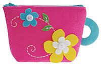 Рукоделие войлочные: Бумажник розовый - Цветы