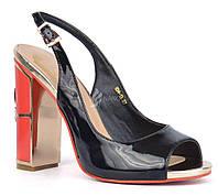 Босоножки женские на каблуке Passion лакированные черные золото красные Турция, Черный, 40