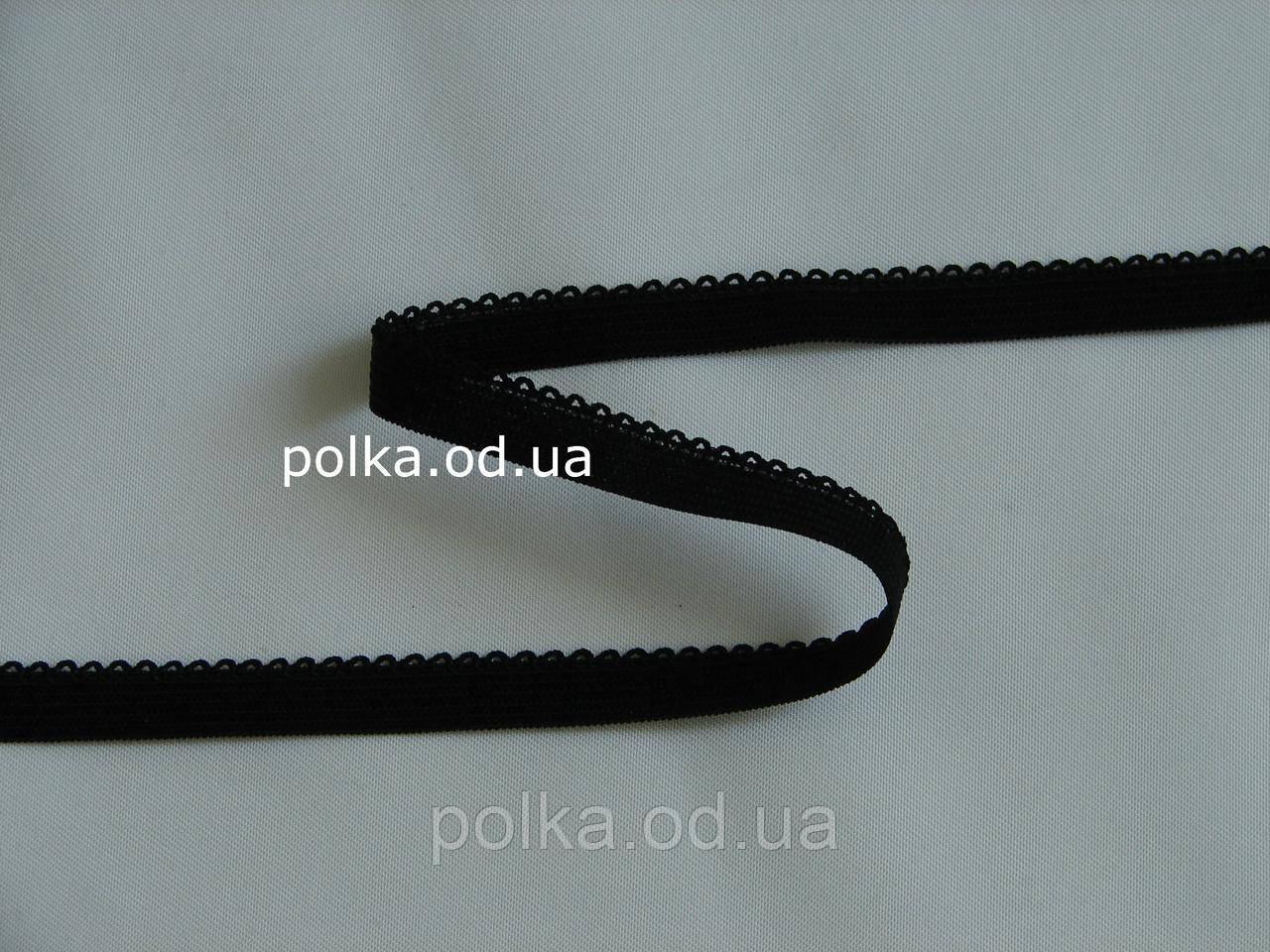 Резинка черная с ажурным краем- 2257, ширина 10мм, цвет черный/белый/цветная (Турция)