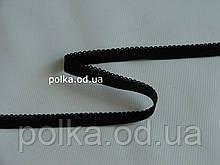 Резинка черная с ажурным краем- 2257, ширина 8мм, цвет черный/белый/цветная (Турция)