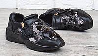 Кроссовки женские дышащие черные с пайетками на молнии Rich style, Черный, 41