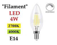 """Светодиодная лампа диммируемая """"Filament"""" Feron LB-68 4W E14 свеча"""