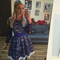 Очаровательное короткое гипюровое платье с кружевной отделкой