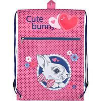 Сумка для обуви Kite17 K17-601M-3 розовый 601 Cute Bunny с карманом