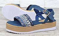 Босоножки женские джинсовые на платформе с бусинами Shakti, Синий, 40