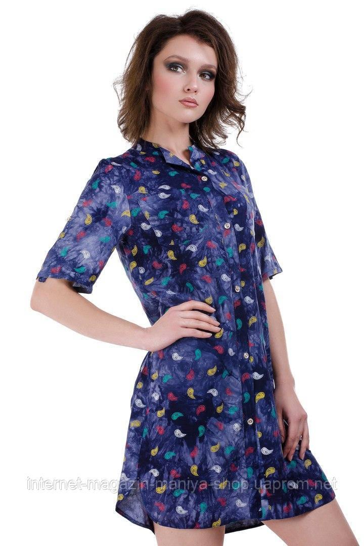 Платье-рубашка женское 638 принт пуговицы (лето)