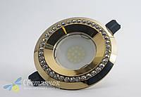 Cветильник точечный встраиваемый с декоративными камнями Feron DL100-C (золото) под лампу MR16