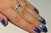 Кольцо серебряное  с пластинами золота