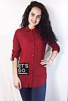 Модная женская хлопковая рубашка с жемчужными бусинами