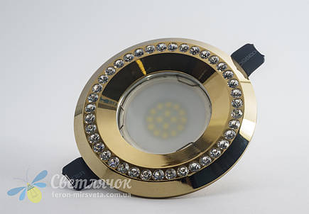 Cветильник точечный встраиваемый с декоративными камнями Feron DL103-C (золото) под лампу MR16, фото 2
