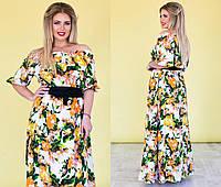 Стильное женское платье в цветочный принт, пояс в комплекте.