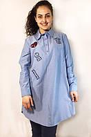 Стильная женская хлопковая рубашка с апликациями