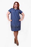 Женское летнее льняное платье-цвет джинс