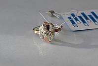 Серебряное кольцо с золотыми пластинками 060к, фото 1