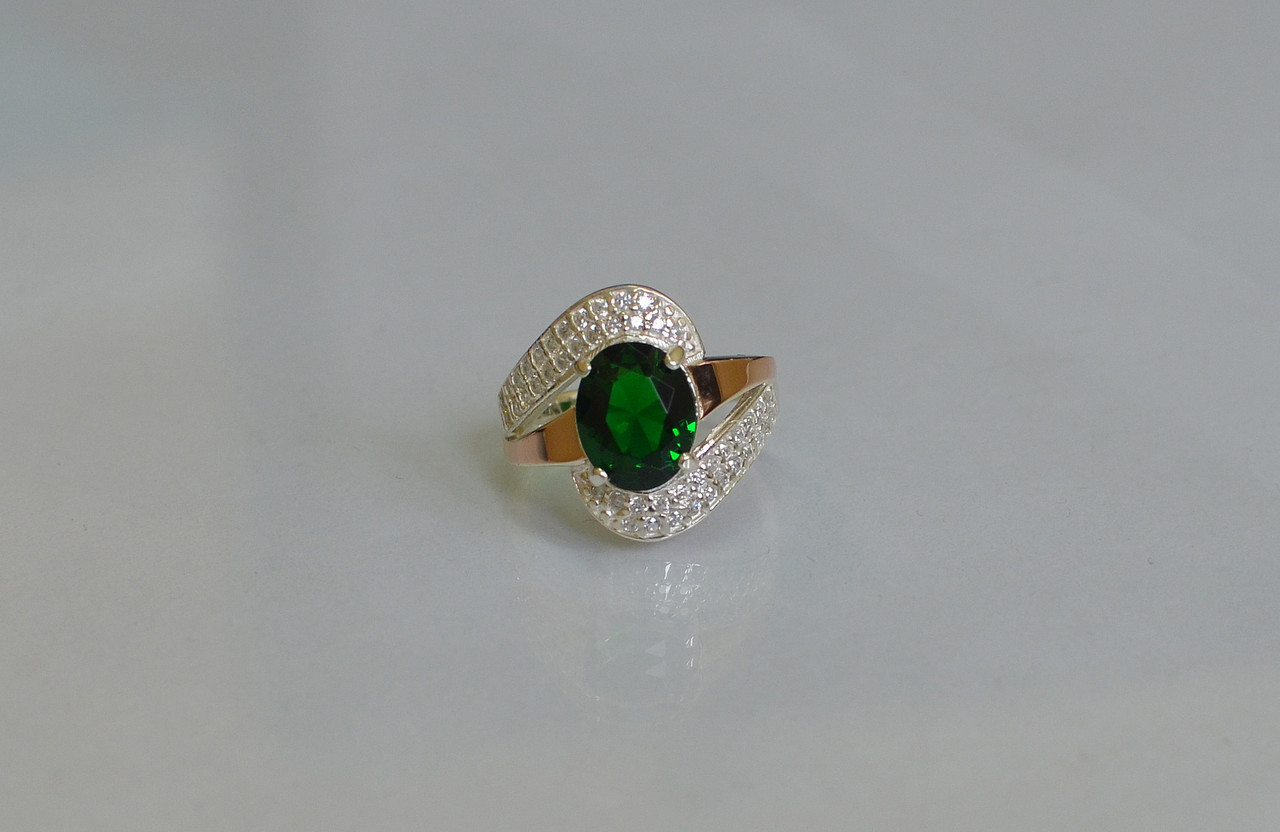 Серебряное кольцо с золотыми вставками 079к