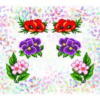 Водорастворимый флизелин с рисунком цветочная клумба