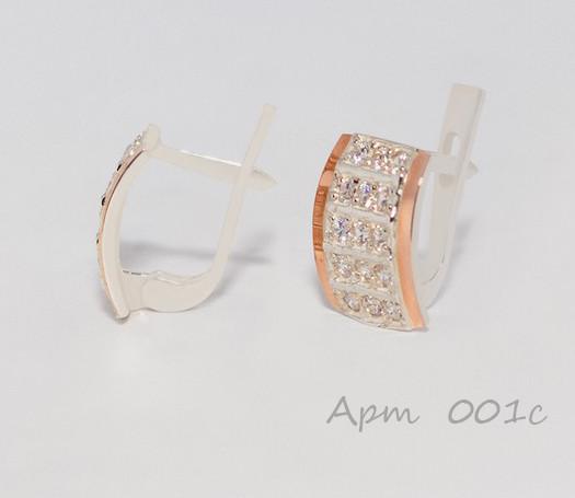 Сережки срібні з золотими накладками