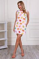 Пудровое платье в модный принт