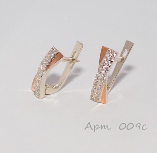 Серьги из серебра с золотыми пластинами