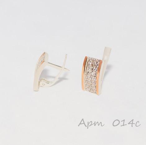 Серебряные серьги с золотыми пластинами