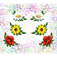 Водорастворимый флизелин с рисунком подсолнухи, маки, ромашки