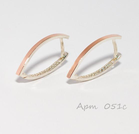 """Срібні сережки зі вставками з золота """"Водолій-1"""""""