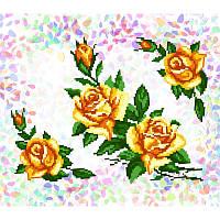 Водорастворимый флизелин с рисунком желтые розы