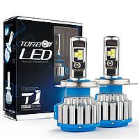 Комплект LED ламп TurboLed T1 H4 6000K 50W 12/24v CanBus с активным охлаждением