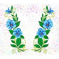 Водорастворимый флизелин с рисунком голубые цветы
