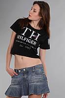 Стильный короткий топ футболка Th 85 черного цвета