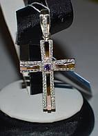 Крест серебряный с золотом