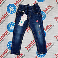 Детские джинсы для девочки  с нашивками NK