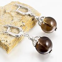 Раухтопаз дымчатый кварц, Ø14 мм., серебро, серьги, 208СРР, фото 1