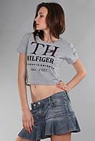 Короткий серый топ футболка Th 85