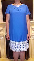 Женское льняное платье с кружевом