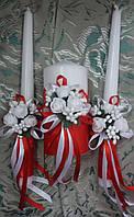 """Комплект свадебный свечей """"Бело-красный букет"""""""