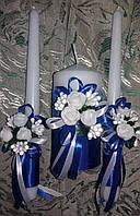 """Комплект свадебный свечей """"Синий букет"""""""