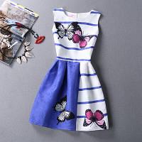 Платье женское жаккардовое в полоску с бабочками