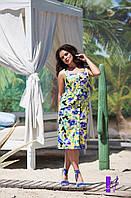 Женское батальное платье-халат из летнего коттона с застежкой на пуговицы