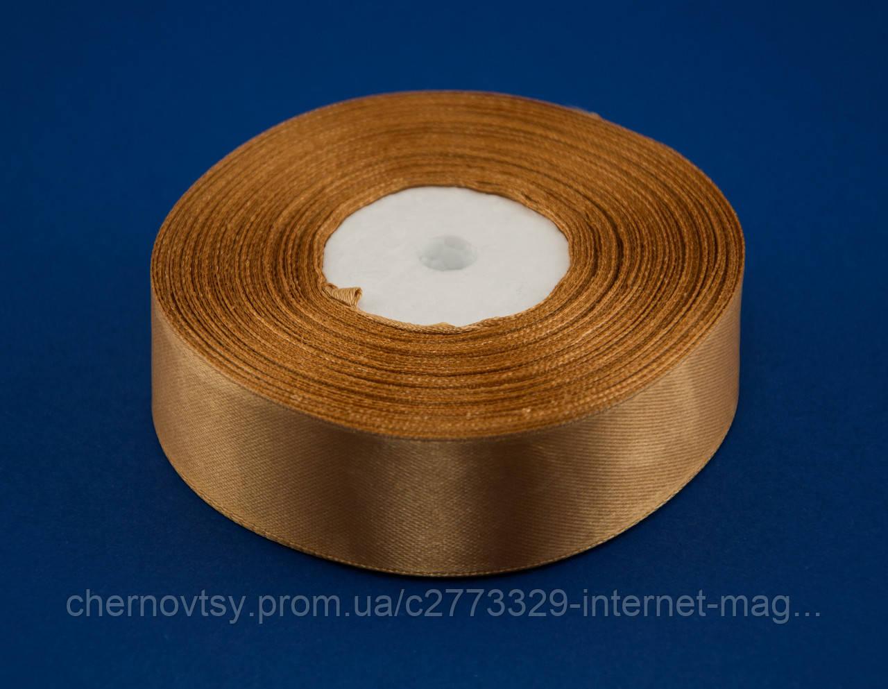 Лента атлас 0.6 см, 33 м, № 157 золотистая