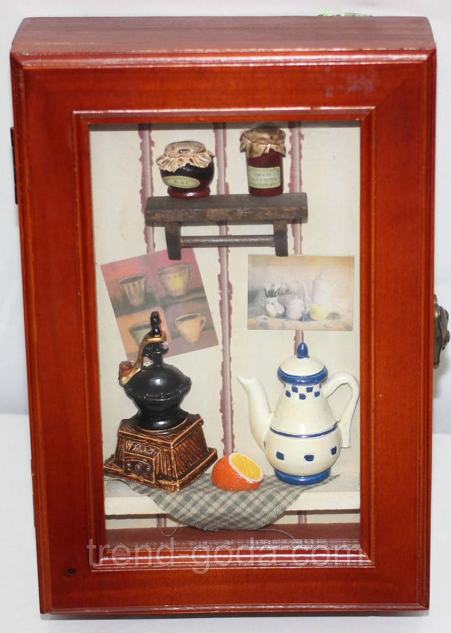 Ключница деревянная настенная, маленькая, Кухонька